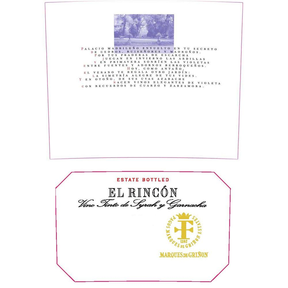 Marques de Grinon El Rincon Red Blend 2013 Front Label