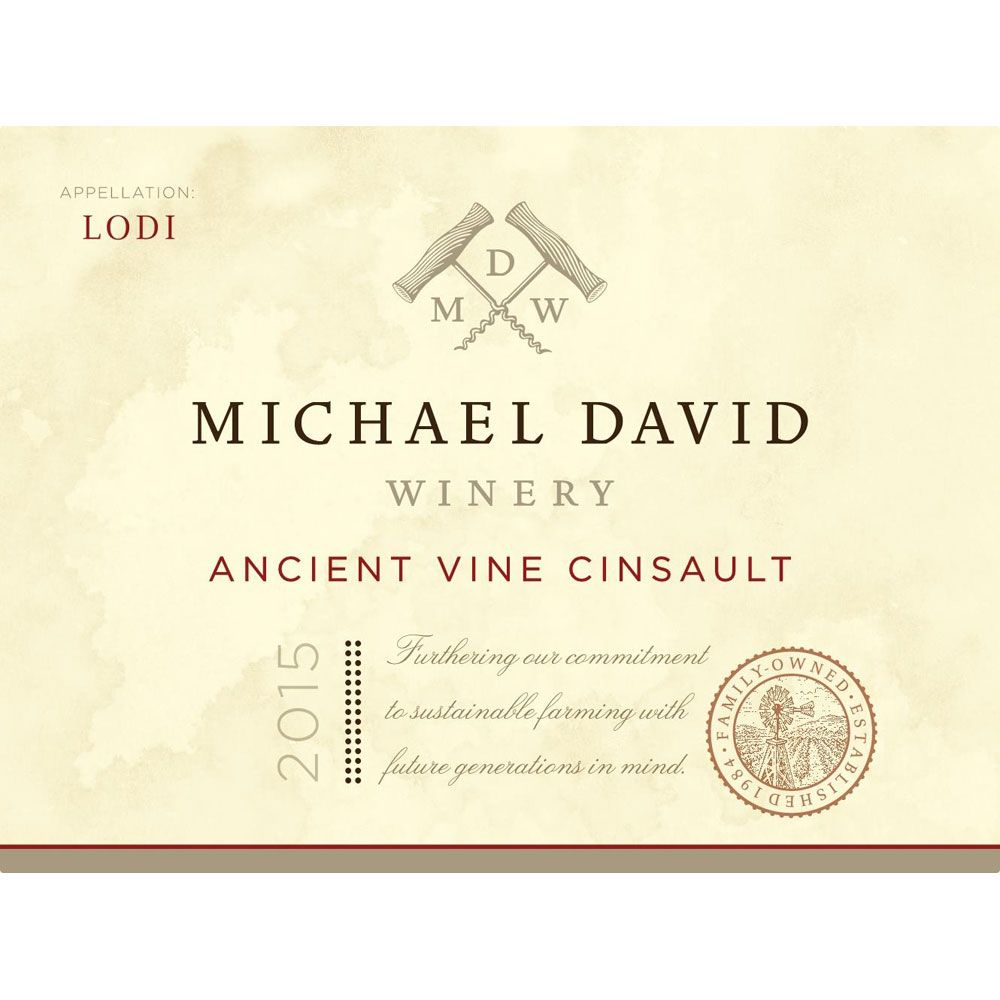 Michael David Winery Ancient Vines Cinsault 2015 Front Label