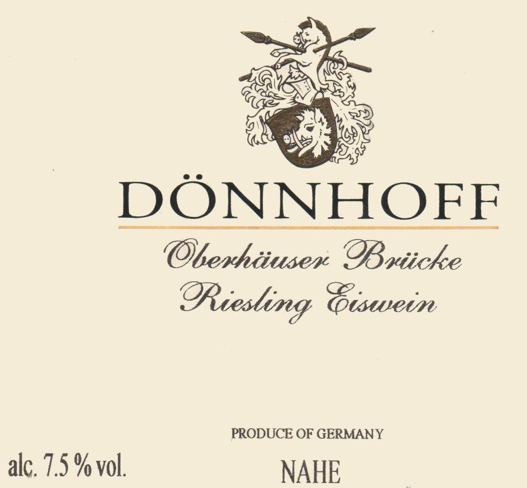 Donnhoff Oberhauser Brucke Riesling Eiswein 2007 Front Label