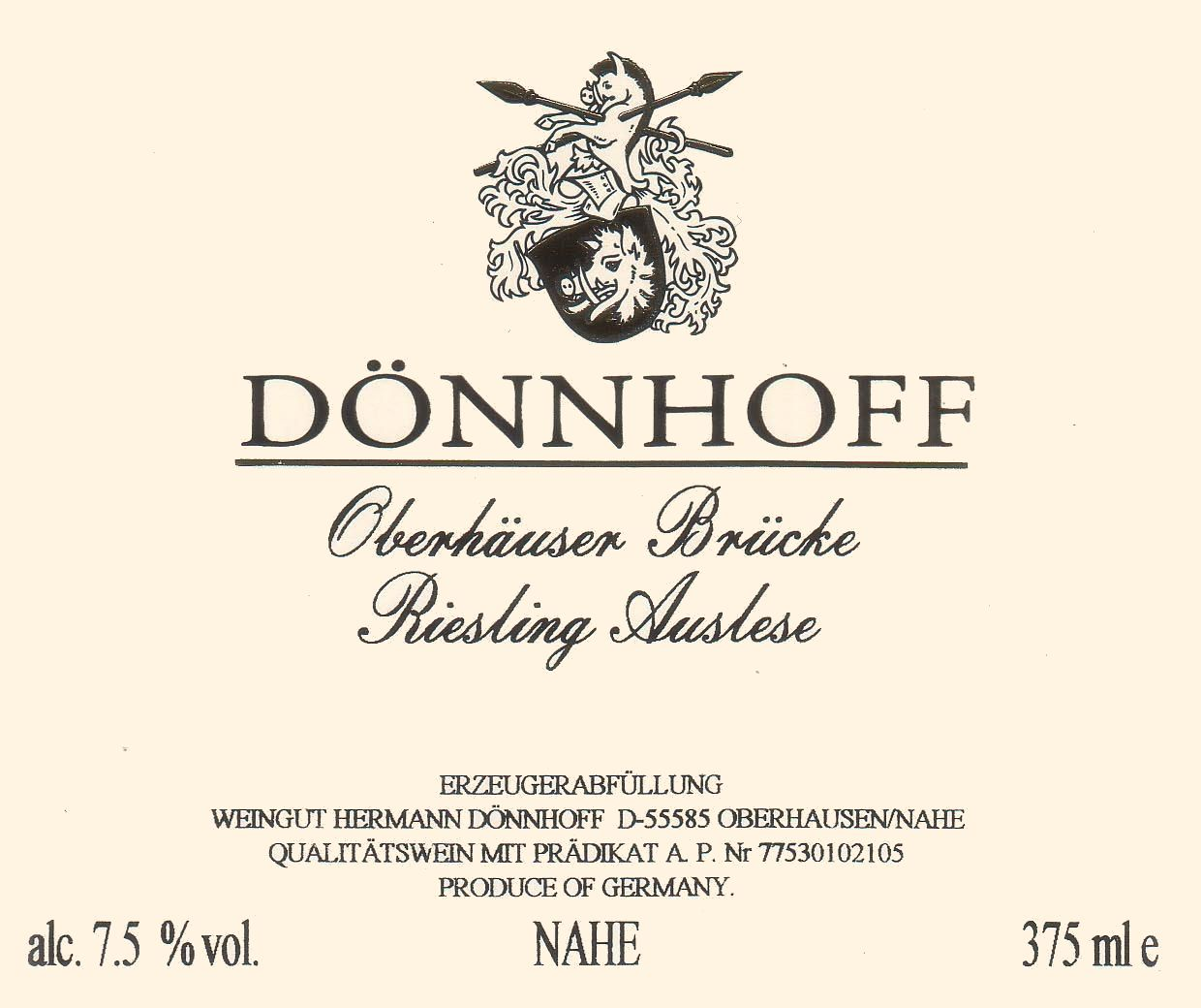 Donnhoff Oberhauser Brucke Riesling Auslese 2007 Front Label