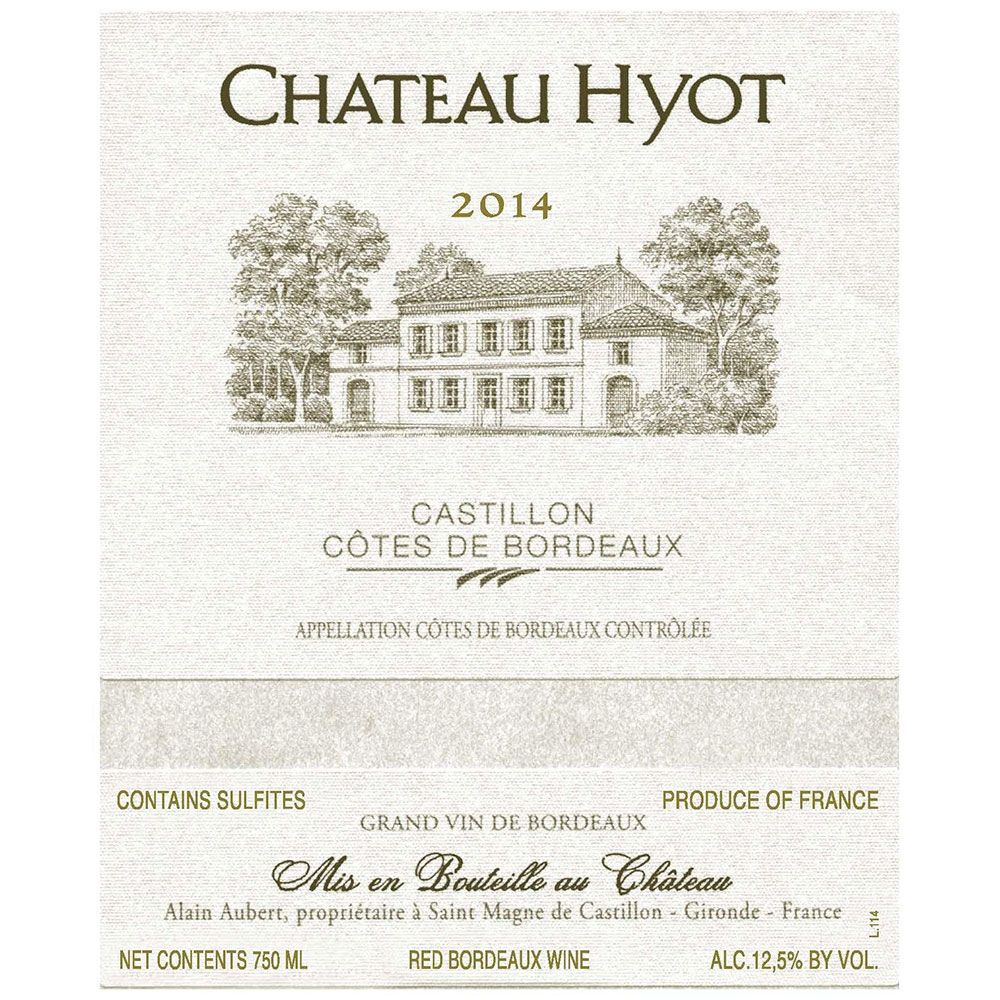 Chateau Hyot  2014 Front Label