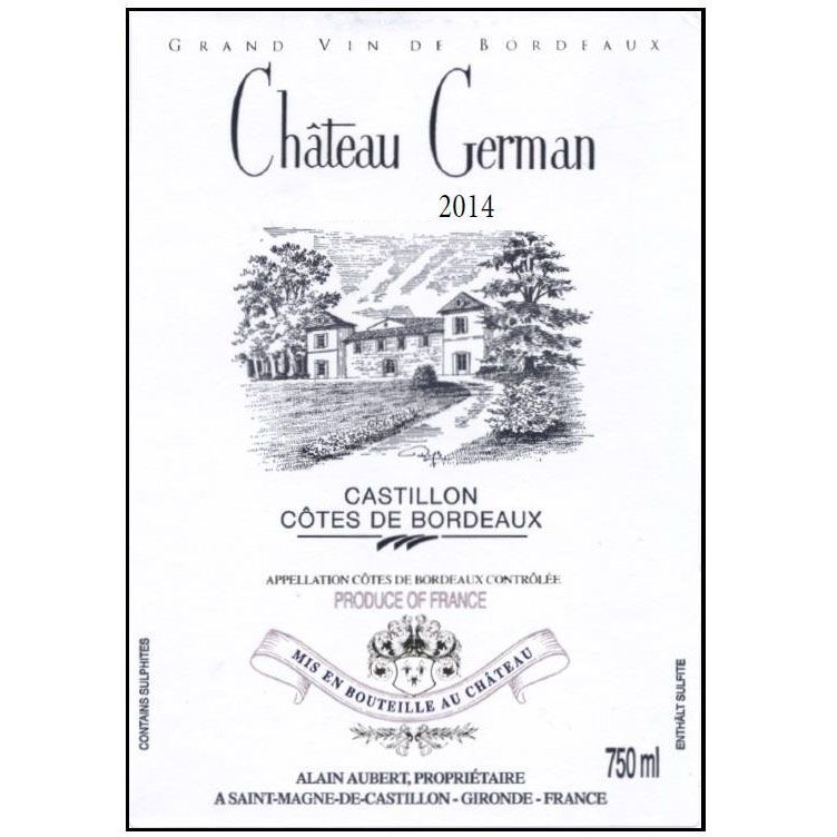 Chateau German  2014 Front Label
