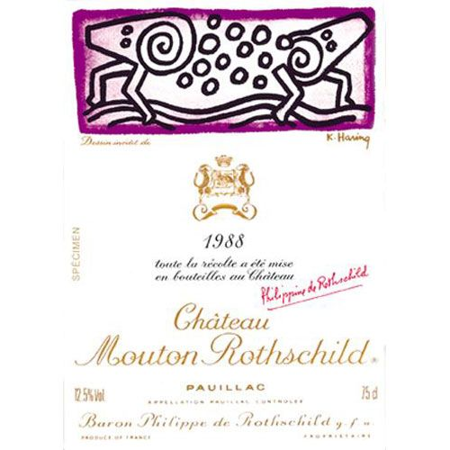 Chateau Mouton Rothschild (5 Liter Bottle) 1988 Front Label