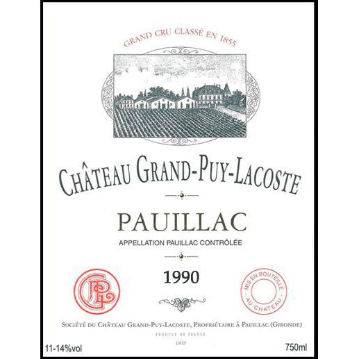 Chateau Grand-Puy-Lacoste  1990 Front Label