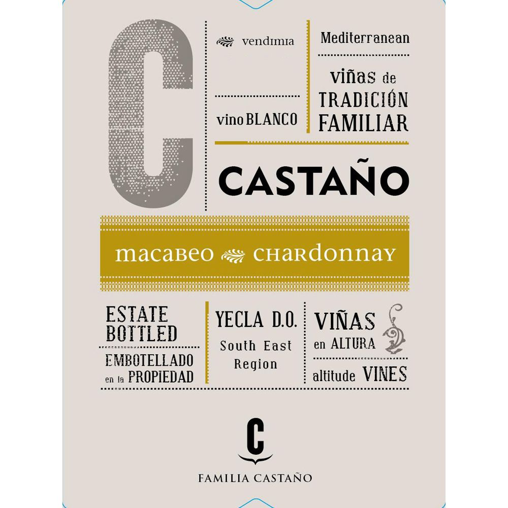 Bodegas Castano Macabeo Chardonnay 2015 Front Label