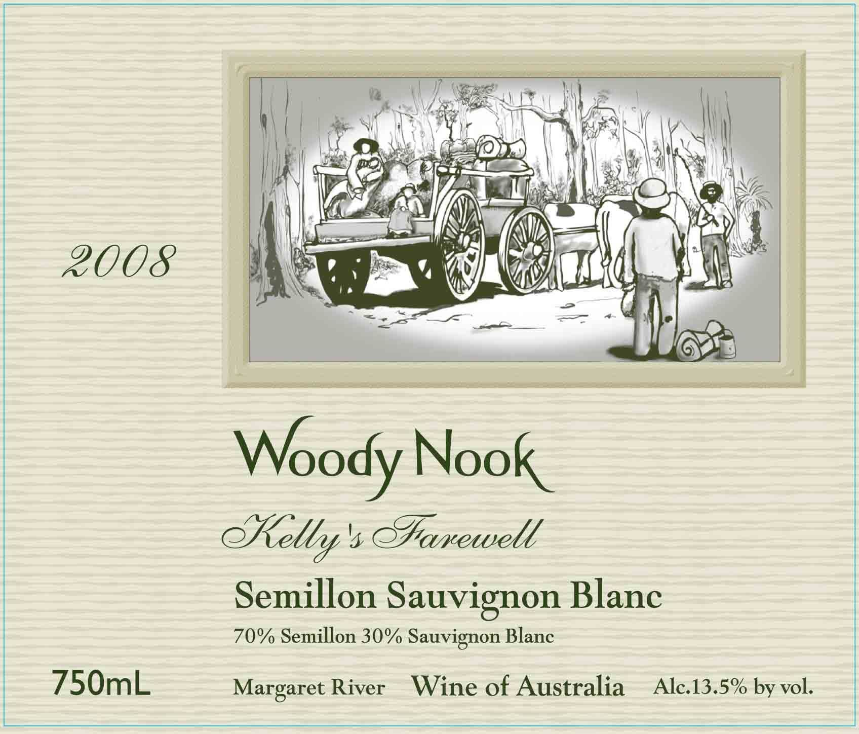 Woody Nook Kelly's Farewell Semillon Sauvignon Blanc 2008 Front Label