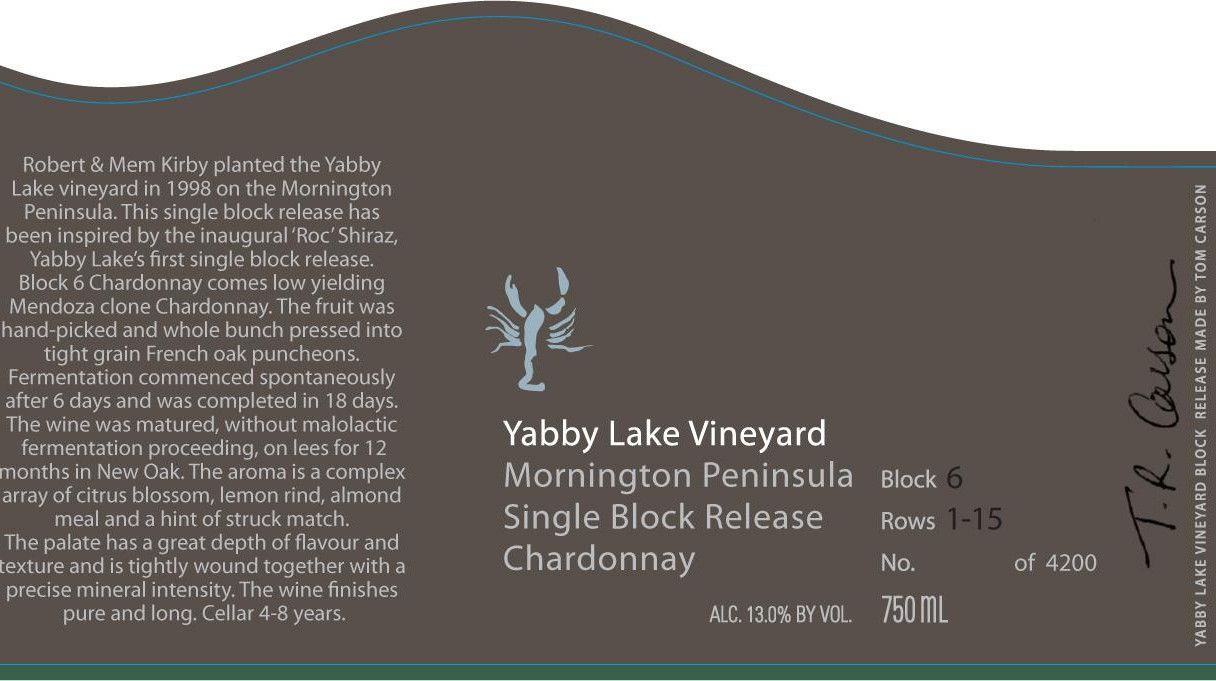 Yabby Lake Single Block Release Block 6 Chardonnay 2013 Front Label