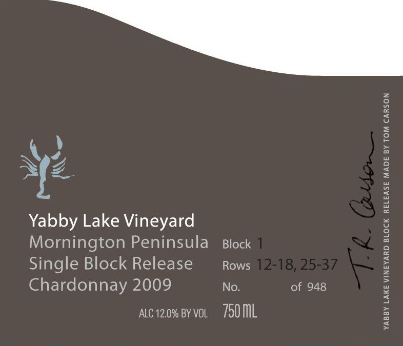 Yabby Lake Single Block Release Block 1 Chardonnay 2009 Front Label