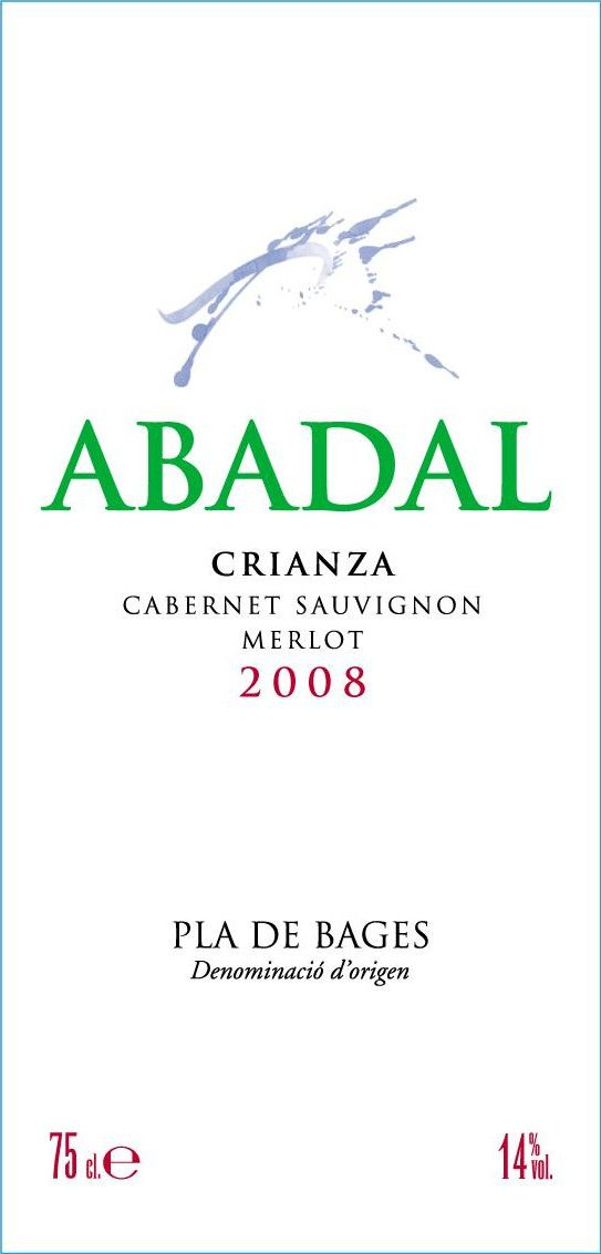 Abadal Crianza 2008 Front Label