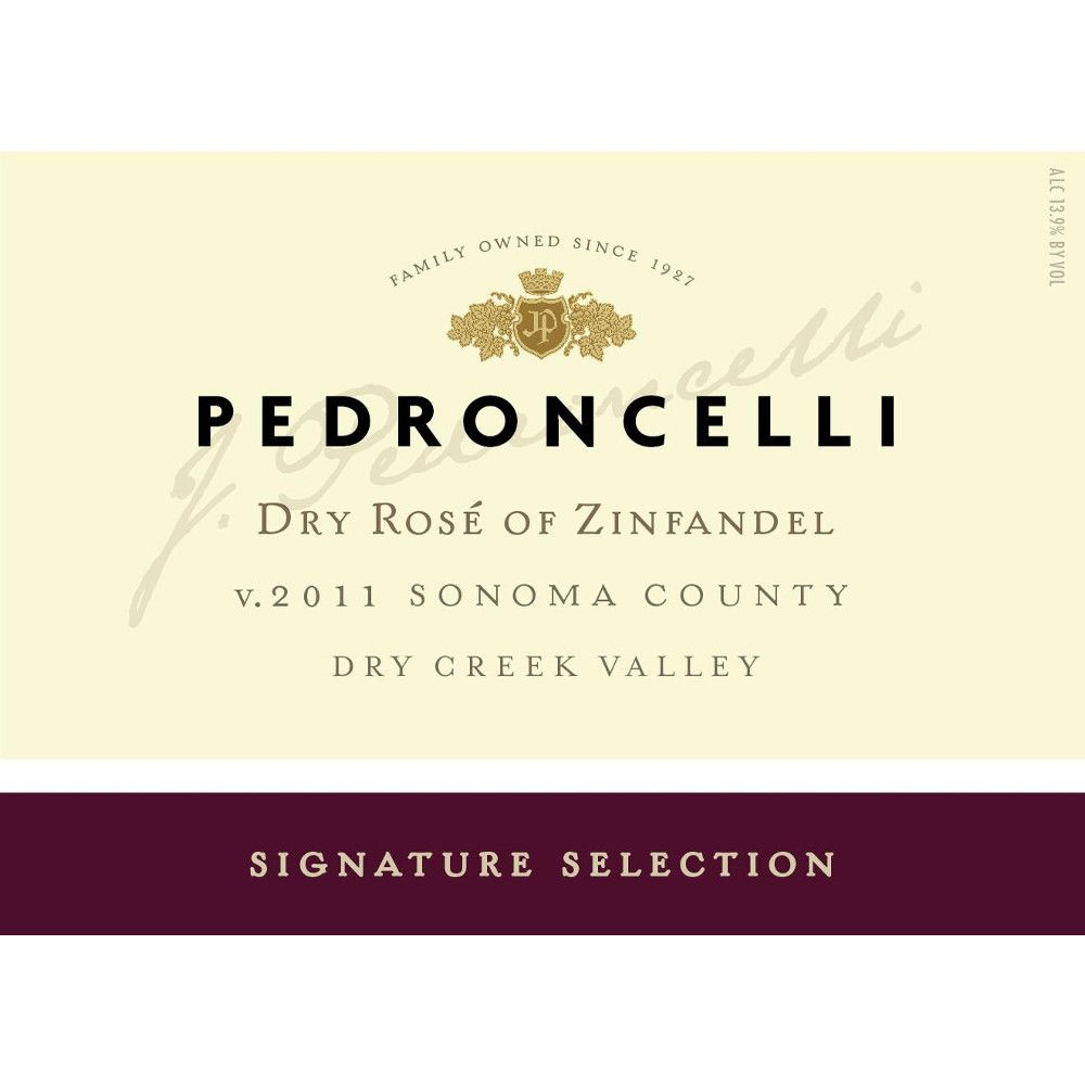 Pedroncelli Dry Rose of Zinfandel 2016 Front Label