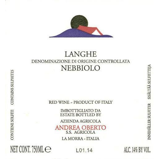 Andrea Oberto Langhe Nebbiolo 2014 Front Label
