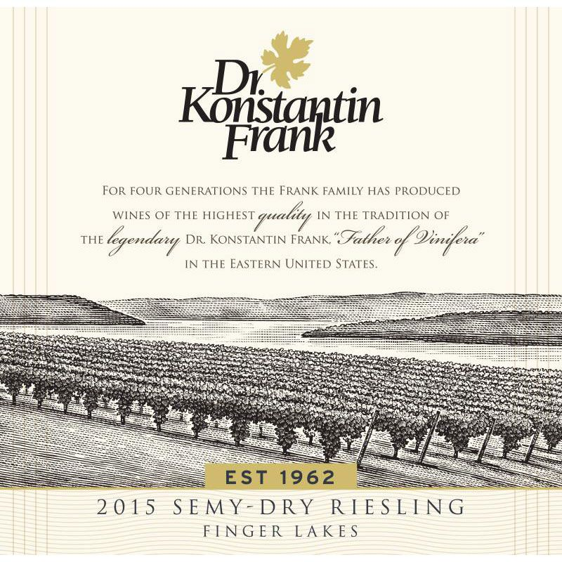 Dr. Konstantin Frank Semi Dry Riesling 2015 Front Label
