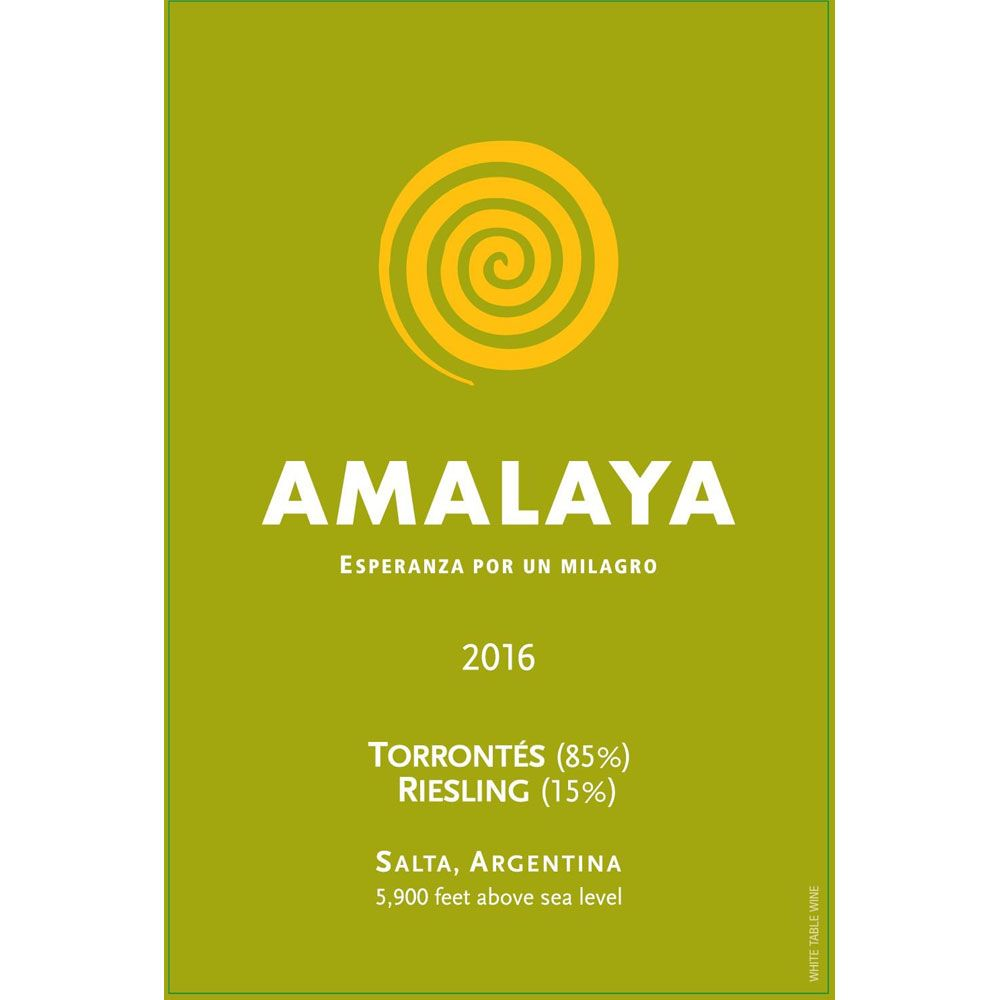 Amalaya Blanco 2016 Front Label