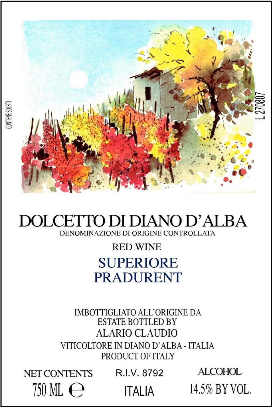 Hernder Estate Wines Dolcetto di Diano d'Alba Pradurent Superiore 2009 Front Label