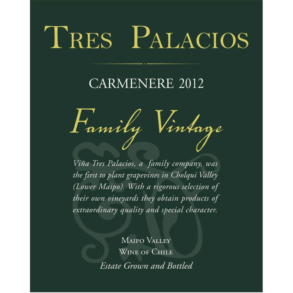 Tres Palacios Family Vintage Carmenere 2012 Front Label