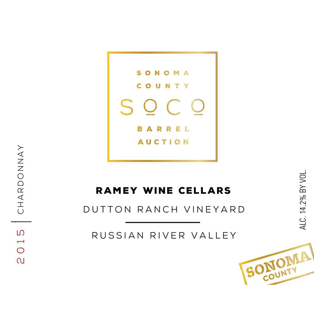 Ramey Radiance Dutton Ranch Vineyard Chardonnay (Sonoma Barrel Auction) 2015 Front Label
