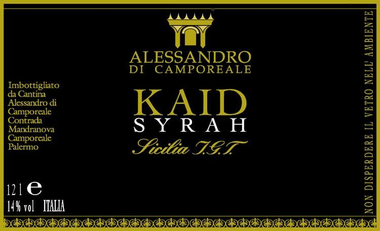 Alessandro di Camporeale Kaid Syrah 2010 Front Label