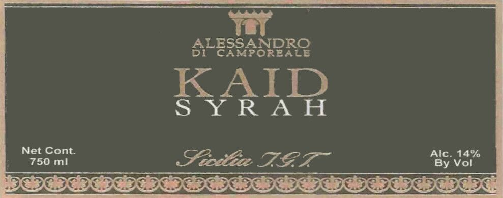 Alessandro di Camporeale Kaid Syrah 2007 Front Label