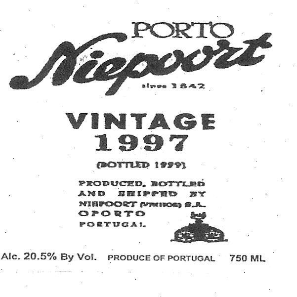 Niepoort Vintage Port (375ML half-bottle) 1997 Front Label