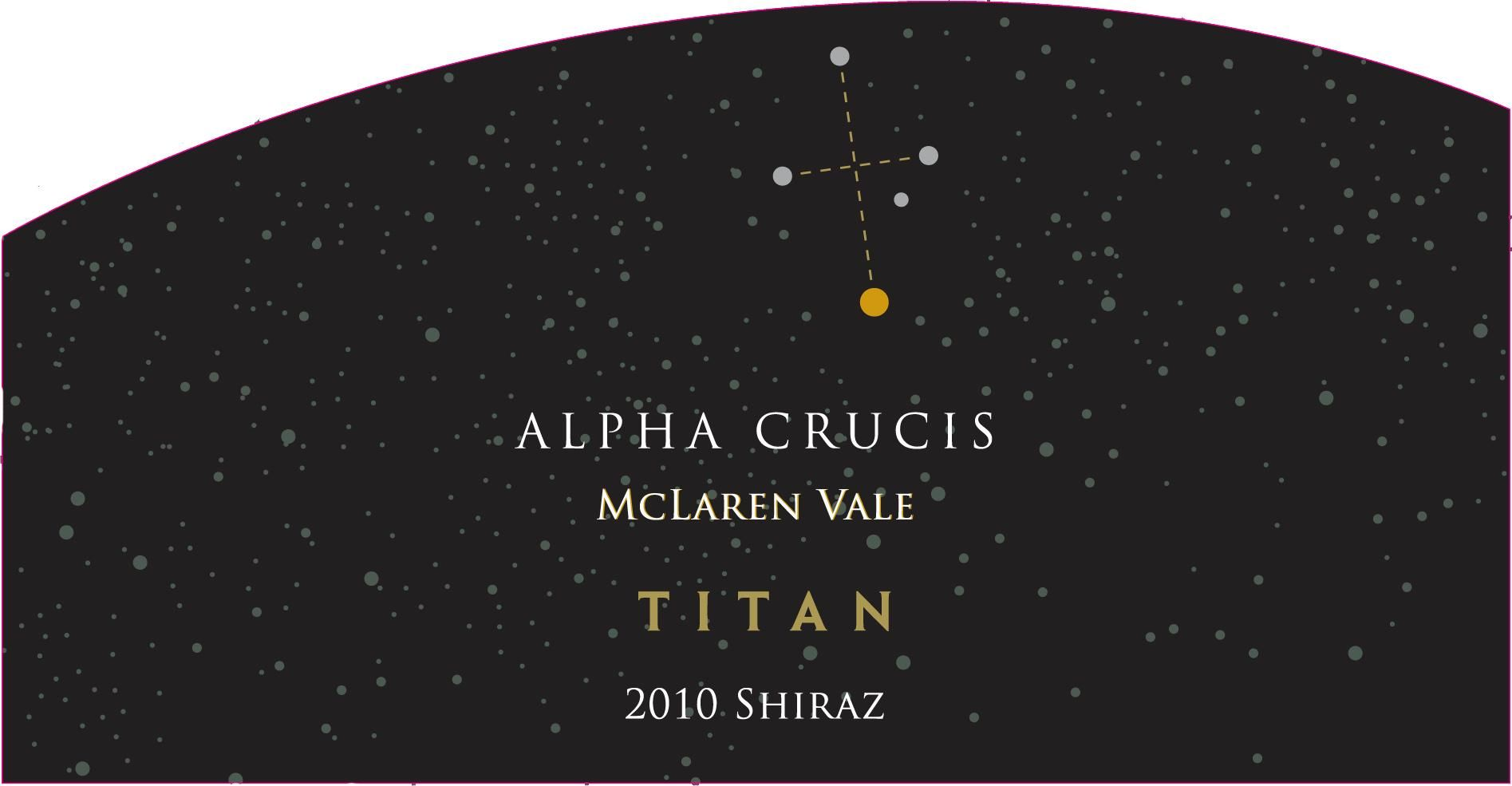 Alpha Crucis Titan Shiraz 2010 Front Label