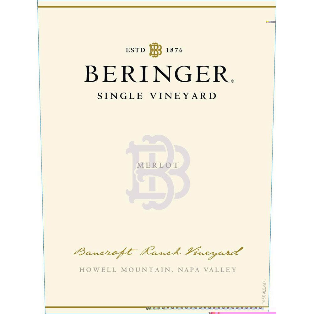 Beringer Howell Mountain Bancroft Ranch Merlot 1995 Front Label