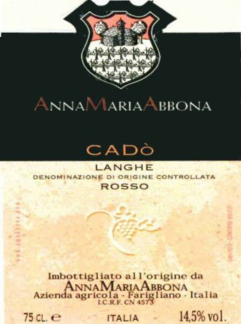 Anna Maria Abbona Langhe Cado Rosso 2004 Front Label