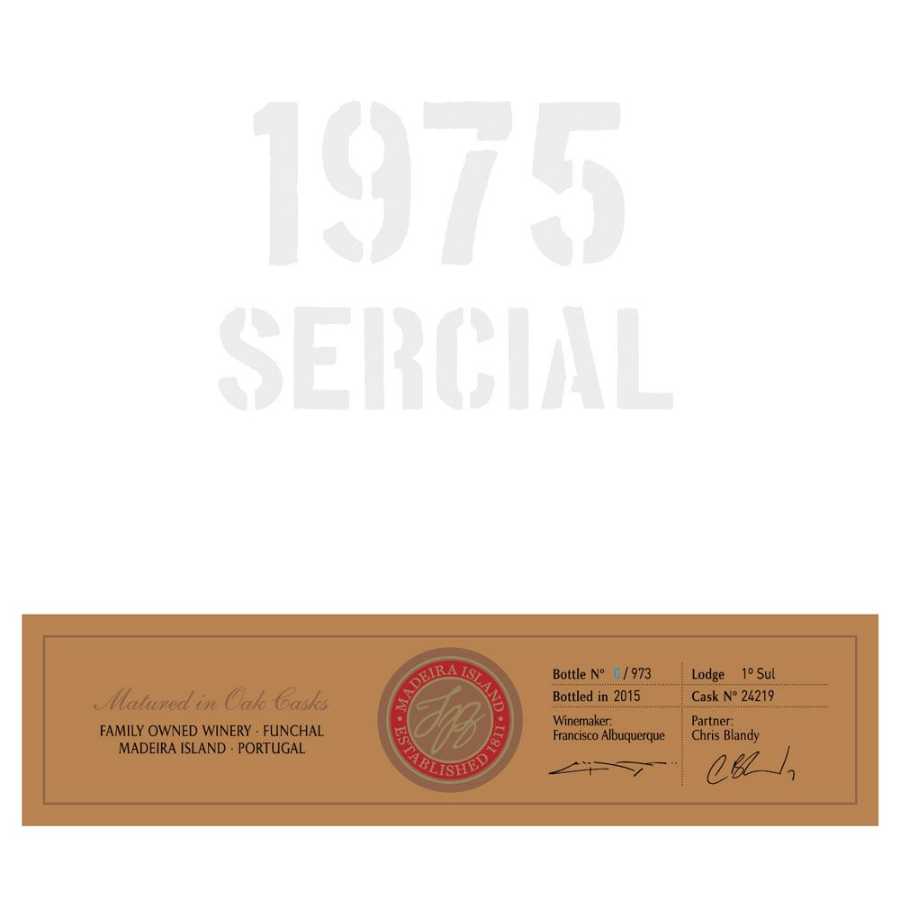 Blandy's Vintage Sercial Madeira 1975 Front Label