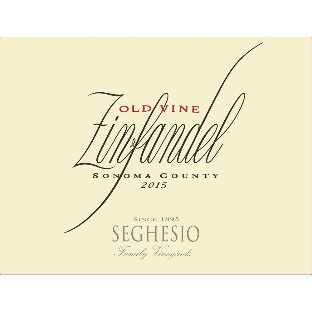 Seghesio Old Vine Zinfandel 2015 Front Label