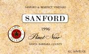 Sanford Barrel Select Pinot Noir 1996 Front Label