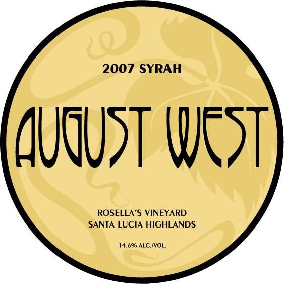 August West Rosella's Vineyard Syrah 2007 Front Label