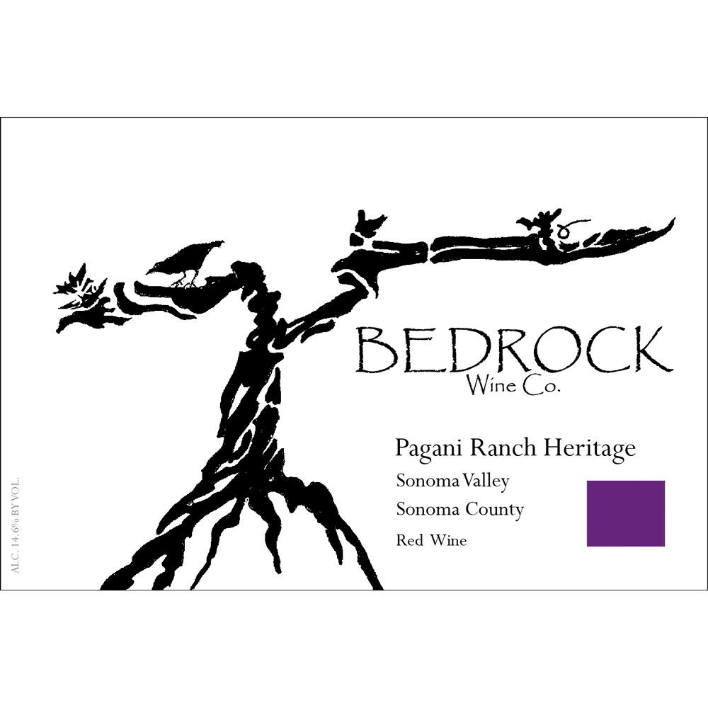 Bedrock Wine Company Pagani Ranch Heritage Red 2015 Front Label