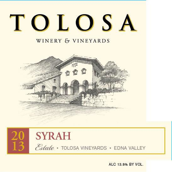 Tolosa Winery Estate Syrah 2013 Front Label