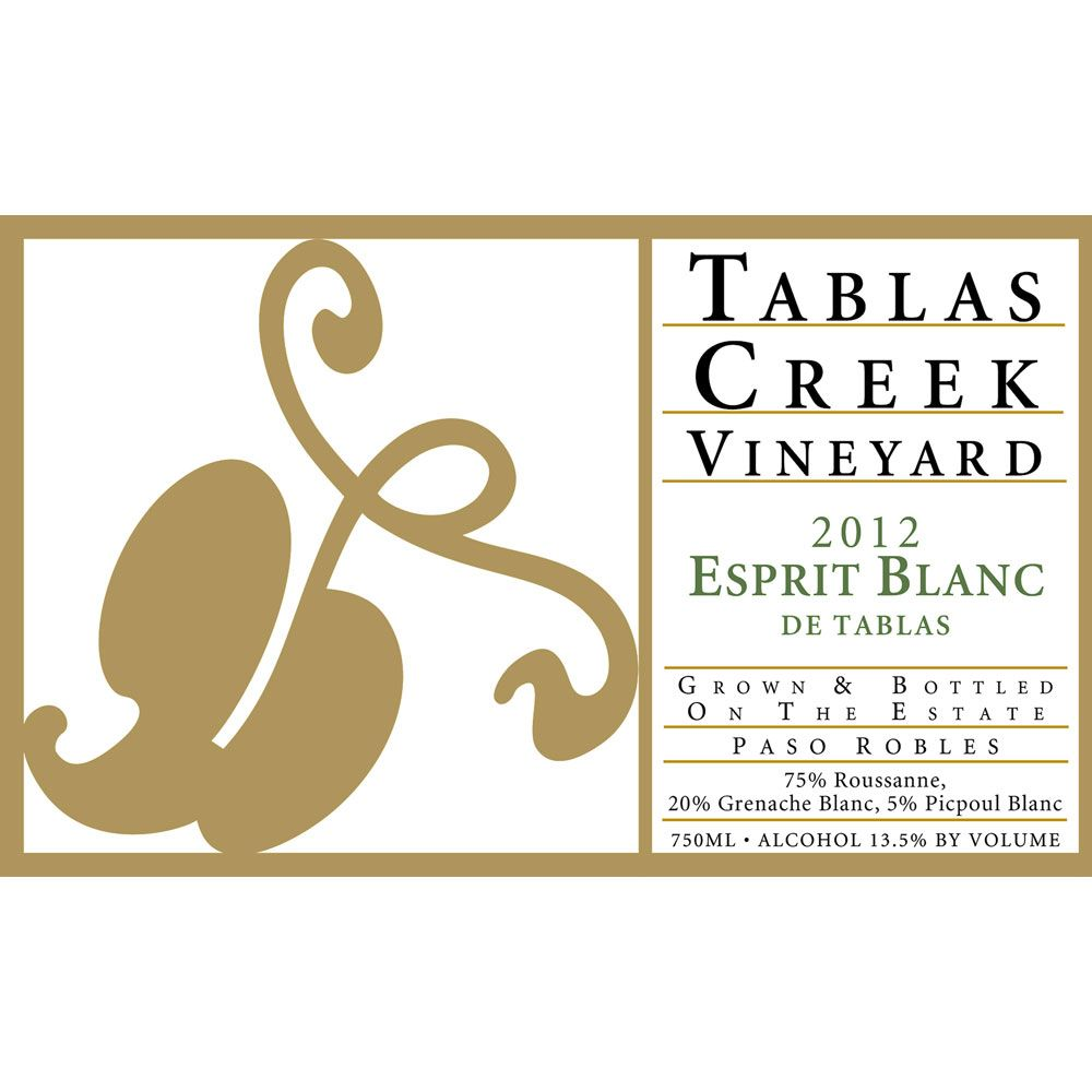 Tablas Creek Esprit de Tablas Blanc (375ML half-bottle) 2012 Front Label