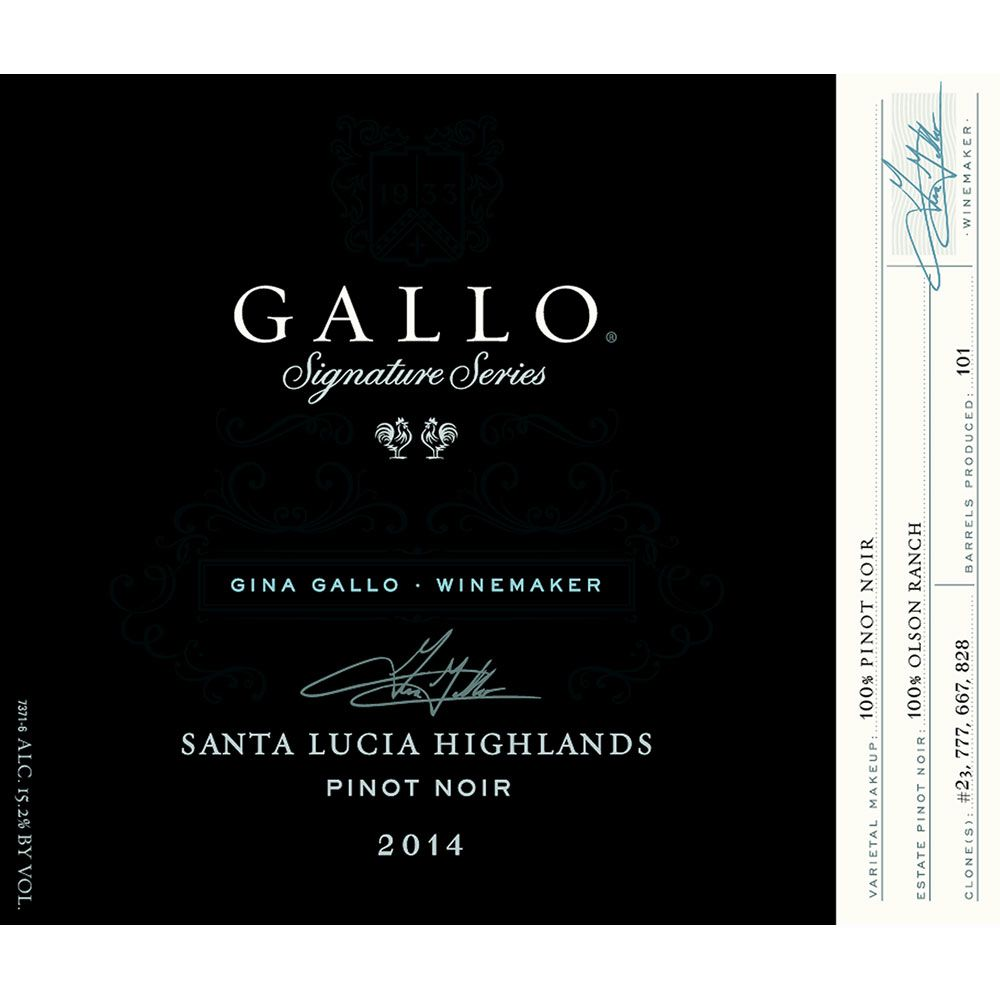 Gallo Signature Series Santa Lucia Highlands Pinot Noir 2014 Front Label
