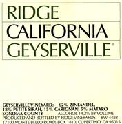 Ridge Geyserville 1998 Front Label