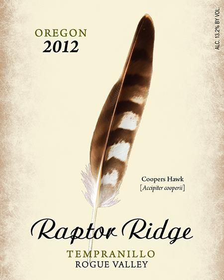 Raptor Ridge Tempranillo 2012 Front Label