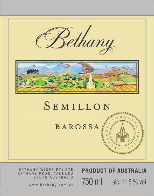 Bethany Wines Semillon 2012 Front Label