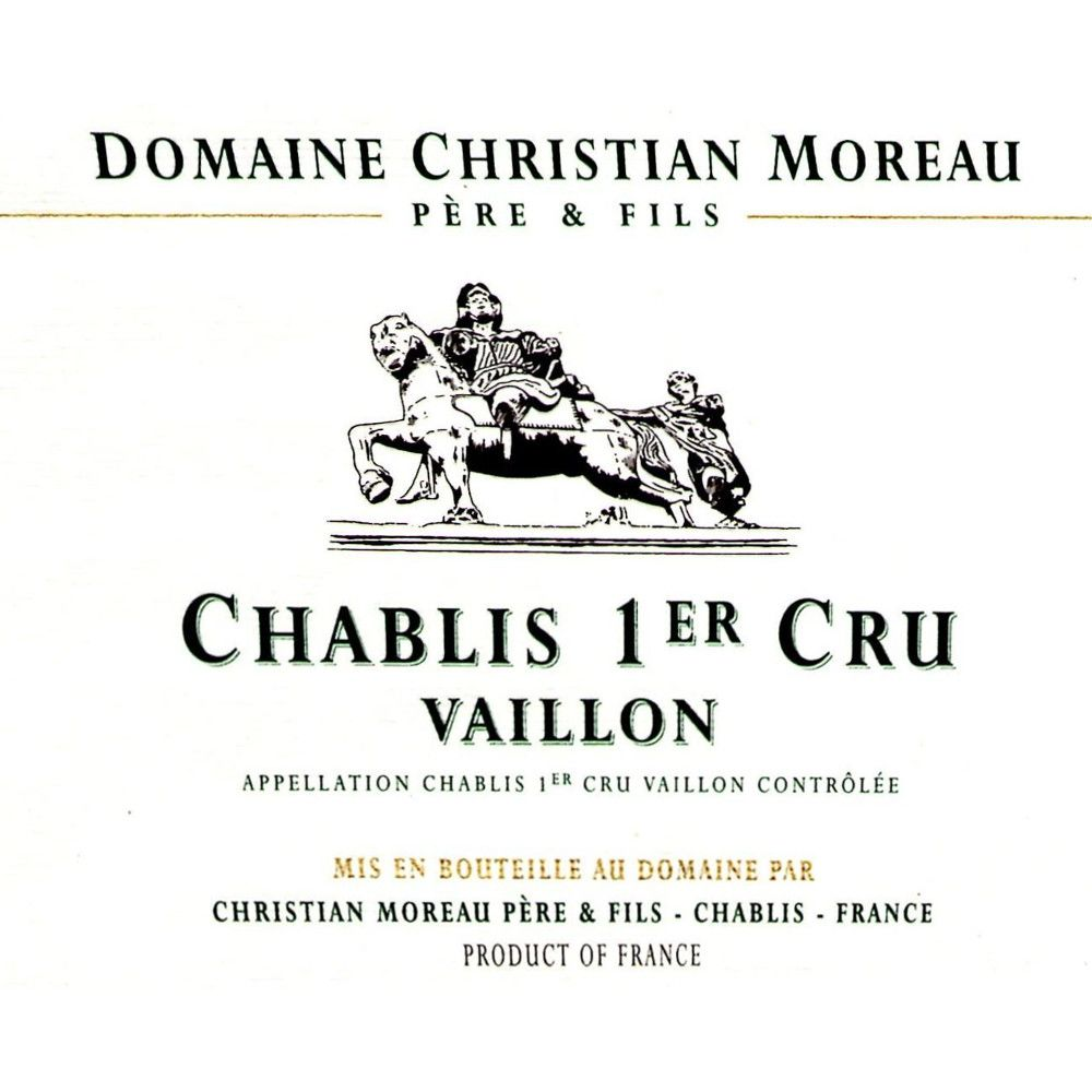 Christian Moreau Chablis Vaillon Premier Cru (375ML half-bottle) 2014 Front Label