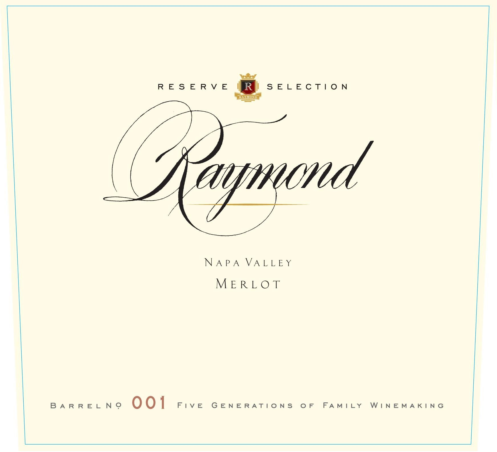 Raymond Reserve Selection Merlot 2014 Front Label