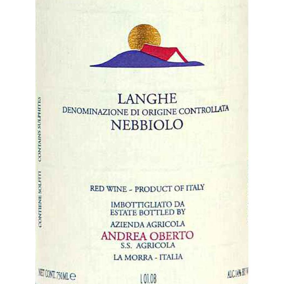 Andrea Oberto Langhe Nebbiolo 2015 Front Label