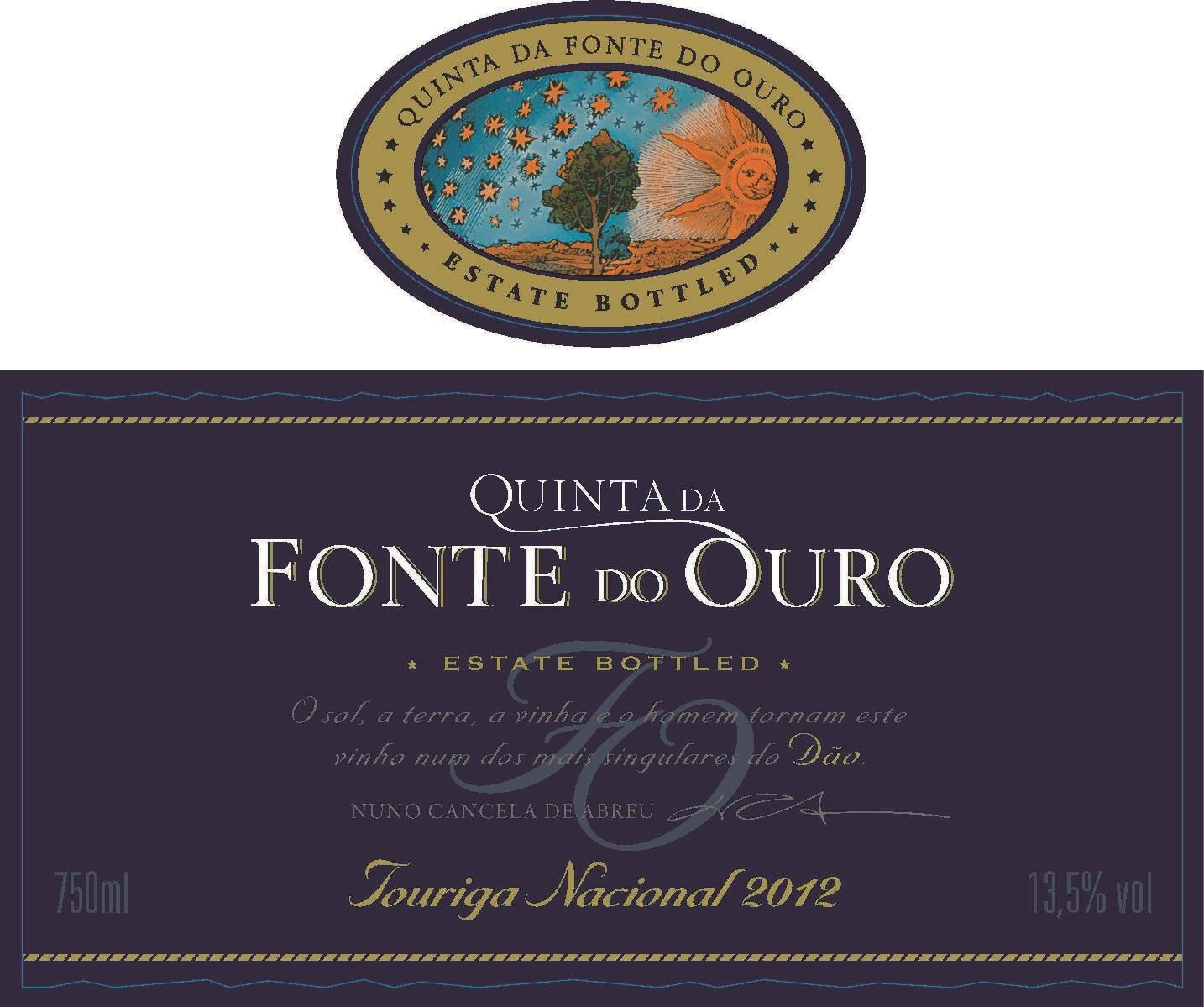 Quinta da Fonte do Ouro Touriga Nacional 2012 Front Label