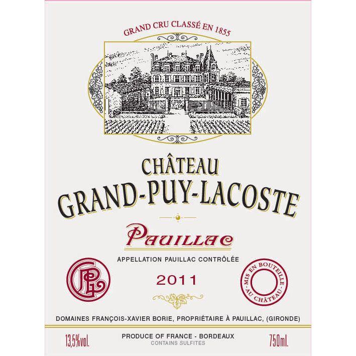 Chateau Grand-Puy-Lacoste  2011 Front Label