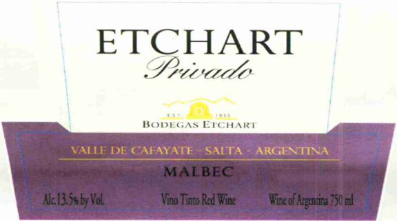 Etchart Etchart Privado Malbec 2011 Front Label