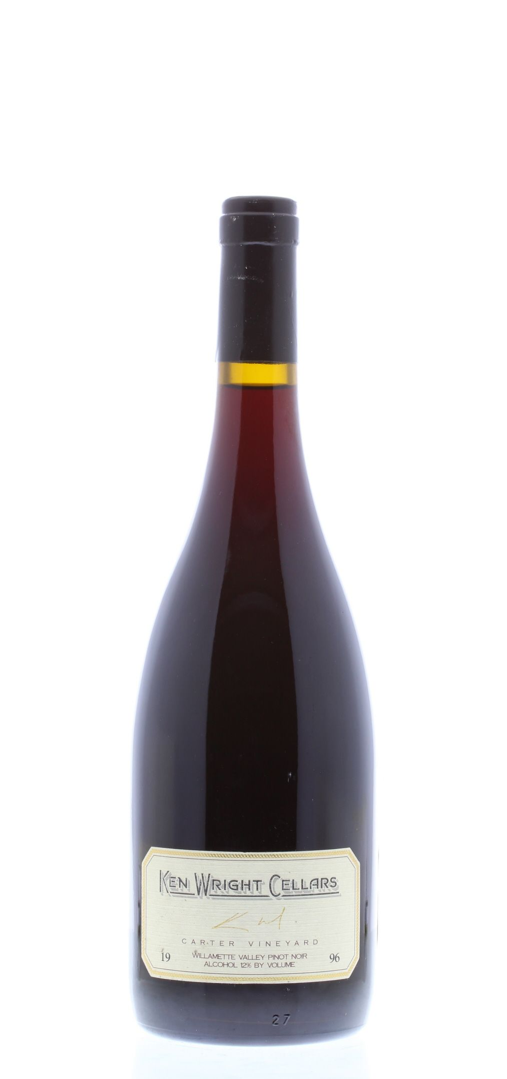 Ken Wright Cellars Carter Vineyard Pinot Noir 1996 Front Bottle Shot