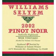 Williams Selyem Weir Vineyard Pinot Noir 2002 Front Label