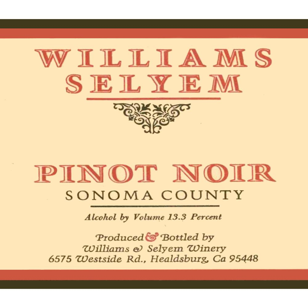 Williams Selyem Sonoma County Pinot Noir 2001 Front Label
