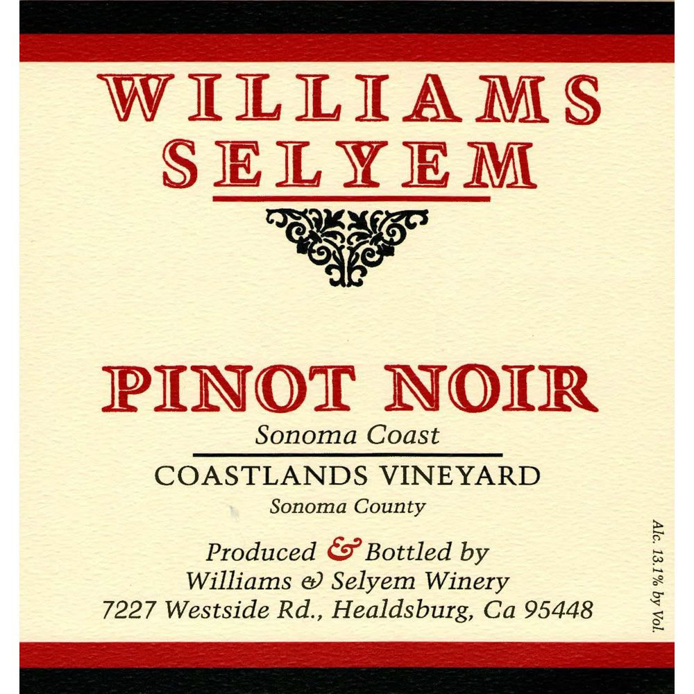 Williams Selyem Coastlands Pinot Noir 1999 Front Label