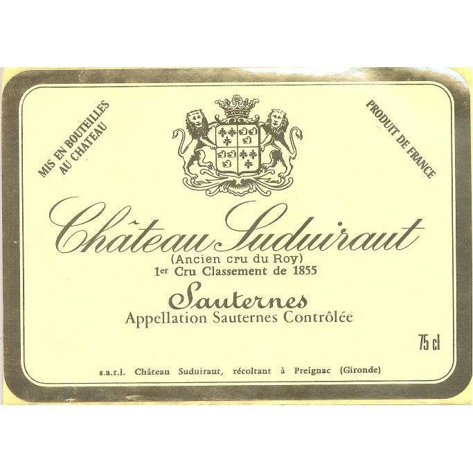 Chateau Suduiraut Sauternes (low shoulder fill) 1934 Front Label