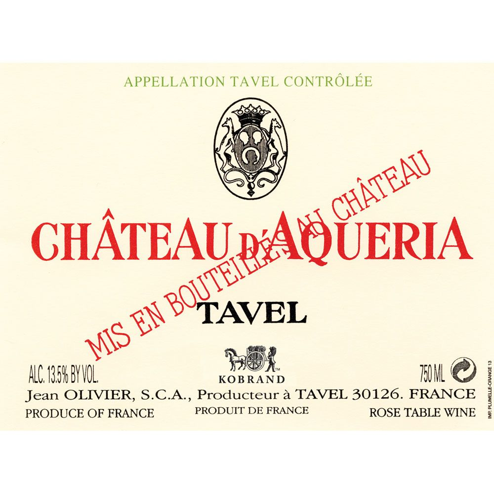 Chateau D'Aqueria Tavel Rose 2016 Front Label