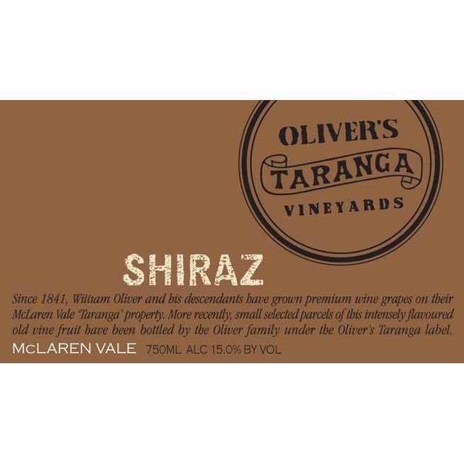 Oliver's Taranga Vineyards Shiraz 2001 Front Label